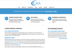 Screenshot of front page of ICAA's membership website.